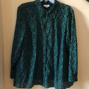 Green/black lacy blouse